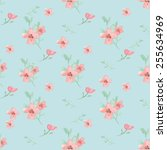 seamless flowers and leaves... | Shutterstock . vector #255634969