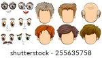 many faces of men | Shutterstock .eps vector #255635758
