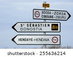 road signs in the basque... | Shutterstock . vector #255636214