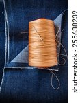 blue denim jean fabric with... | Shutterstock . vector #255638239