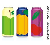 isolated juice cans | Shutterstock .eps vector #25564555