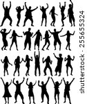 dancing people silhouettes | Shutterstock .eps vector #255655324