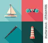 set of marine flat square icons ... | Shutterstock .eps vector #255664486