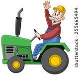 Smiling Farmer Driving A...