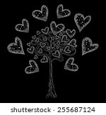 Vector Tree Of Love With Hearts