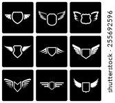 vector black shield icon set on ... | Shutterstock .eps vector #255692596