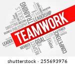teamwork word cloud  business... | Shutterstock .eps vector #255693976
