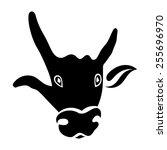 single silhouette of a bull's...   Shutterstock .eps vector #255696970