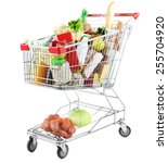 shopping cart full with various ... | Shutterstock . vector #255704920
