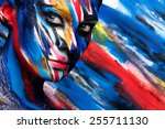 colorful body art on the body... | Shutterstock . vector #255711130