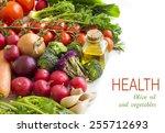 vegetables and bottle of olive... | Shutterstock . vector #255712693