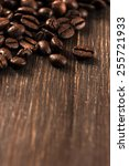 coffee beans on wooden... | Shutterstock . vector #255721933