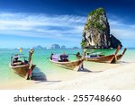 tropical beach with boats. ... | Shutterstock . vector #255748660