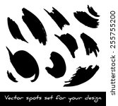 set of black ink spots | Shutterstock .eps vector #255755200
