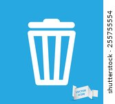 white trash bin icon on a blue... | Shutterstock .eps vector #255755554