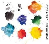 abstract hand drawn watercolor... | Shutterstock .eps vector #255756610