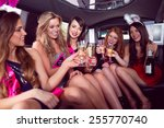 happy friends drinking... | Shutterstock . vector #255770740