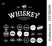premium vintage whiskey alcohol ... | Shutterstock .eps vector #255780490