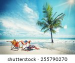 couple on the beach at tropical ... | Shutterstock . vector #255790270