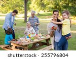 extended family having an... | Shutterstock . vector #255796804