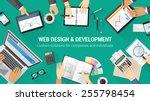 creative team desktop top view...   Shutterstock .eps vector #255798454