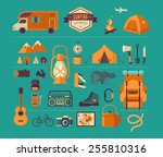 hiking  mountain climbing and... | Shutterstock .eps vector #255810316
