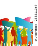 protesters angry people crowd... | Shutterstock .eps vector #255811369