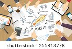start up concept with business... | Shutterstock .eps vector #255813778