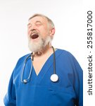 portrait of an old male doctor... | Shutterstock . vector #255817000