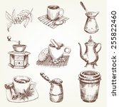 Coffee Set. Pen Sketch...
