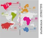 vector  world technology map ... | Shutterstock .eps vector #255827593
