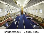 Stock photo cabin of the airplane under heavy maintenance 255834553