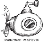 doodle sketch submarine vector... | Shutterstock .eps vector #255841948