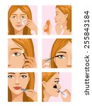 Young girl during makeup ritual. Vector set of images with the same woman during her makeup ritual to ready for party look