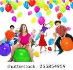 multiethnic children balloon... | Shutterstock . vector #255854959