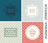 set of vintage frames in blue ... | Shutterstock .eps vector #255855118
