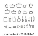 kitchen tools silhouette icons... | Shutterstock .eps vector #255858166