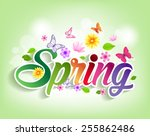 spring word paper cut with... | Shutterstock .eps vector #255862486