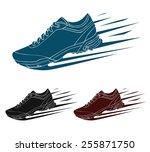 speeding running shoe  sneaker... | Shutterstock .eps vector #255871750
