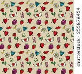 love   seamless pattern with... | Shutterstock . vector #255876454