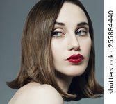 portrait of beautiful girl with ... | Shutterstock . vector #255884440