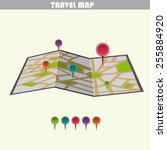 travel vector map with pins | Shutterstock .eps vector #255884920