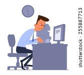 cartoon office worker typing on ... | Shutterstock .eps vector #255887713