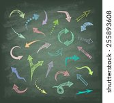 vector hand drawn arrows icons...   Shutterstock .eps vector #255893608