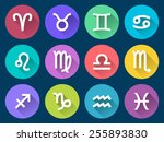 set of zodiac icons in flat...