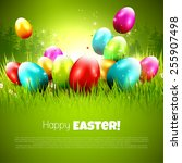 easter greeting card with... | Shutterstock .eps vector #255907498
