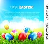 easter greeting card with... | Shutterstock .eps vector #255907534