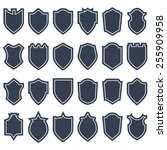 set of different shield shapes... | Shutterstock .eps vector #255909958