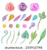 set of floral graphic design... | Shutterstock .eps vector #255910798