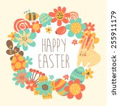 cute happy easter greeting card ...   Shutterstock .eps vector #255911179